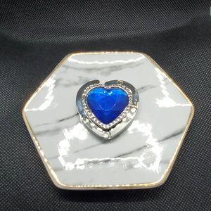 NIB Murano Art Blue Heart Purse Holder